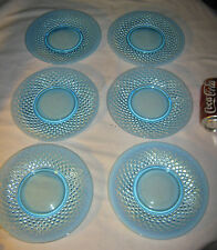 6 FENTON BLUE TOPAZ OPALESCENT HOBNAIL PEDESTAL STAND GLASS CAKE DESSERT PLATES