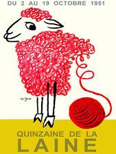 "11x14""Decor poster.Room Interior art design.Knitting Stamen Ball.Pink sheep.7415"