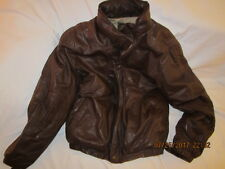 Preowned Men's Size M Tall Brown EDDIE BAUER Leather Jacket with Down Lining