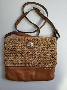 Brighton Woven Straw Handbag Purse Tan Brown Leather Straps Studded