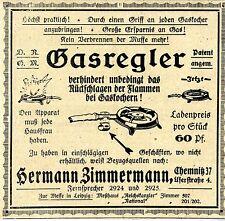 Hermann Zimmermann Chemnitz PATENT-GASREGLER Historische Annonce 1918