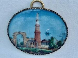 Fine 19th Century Indian Miniature Painting of Qutub Minar in Delhi.
