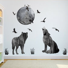 Roaring Wolf Moon Room Home Decor Removable Wall Stickers Decal Decoration