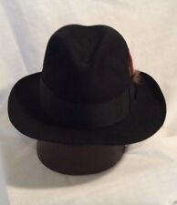 f636492b9dd5f Stetson Soveriegn Fedora Hat Black on Black Vintage Men s Hat Size 7 1 8