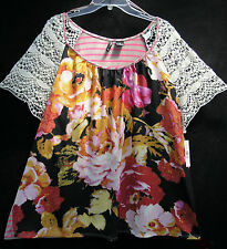 New Directions 3X Top NEW Lace Sleeve Peony Floral Striped Back NWT Bust 56""