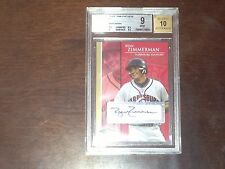 RYAN ZIMMERMAN 2005 JUSTIFIABLE AUTOGRAPHS GOLD /50 BGS 9 AUTO 10