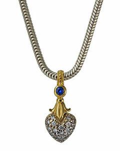 "❤️1,950  LAGOS Caviar Arcadian Diamond Gold Silver Heart Pendant 18"" Necklace ❤️"