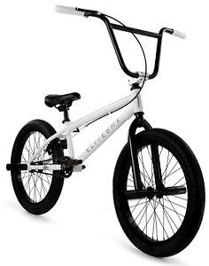 "Elite 20"" BMX Stealth Bicycle Freestyle Bike 1 Piece Crank White NEW 2021"