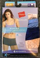 Hanes Premium P242AS Women/'s Panties BIKINIS Boyshorts Cotton Strech 2-Pack NWT
