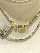 18k Two Tone Gold Diamond Cut Chain Link Necklace 16 Inches