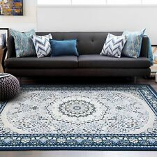 Large Teal Turquoise Blue Rug Mat Traditional Persian Lounges Carpet 200x290cm