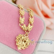 Gorgeous 18K Yellow Gold Filled Love Heart Pendant Long Chain Necklace Jewelry