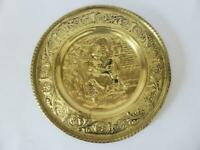 Vintage Jenny Jones Brass Wall Plate, England, Hammered Brass Repousse Plaque