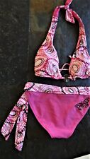 SWIMSUIT Bikini Swim Suit Sz M Two-piece Pink REVERSIBLE Butterfly & Charms  B
