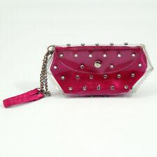 Victoria's Secret Mini Makeup Change Purse Wristlet Clear Plastic Studs Pink
