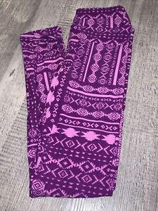 LuLaRoe kids Pink Purple Aztec New leggings 8-12 NWT Large Xlarge L/XL