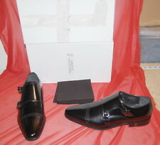 NIB VERSACE COLLECTION mens double buckle black patent leather shoes 40 $625