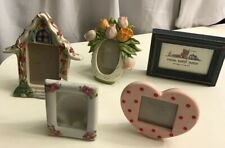 Precious Moments Picture Frames Glass Wooden Resin House Tulips Heart Dorm EUC