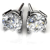 1.50 Ct Round Cut Solitaire Diamond Earring Stud 14K Solid White Gold Studs