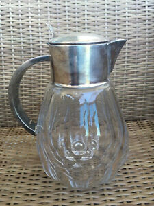 German Art Nouveau Claret Jug Pewter Wmf Glass Silver Platex