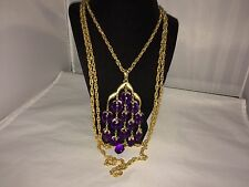 VTG. CROWN TRIFARI PURPLE LUCITE GRAPES/FRUIT WATERFALL 3 STRAND CHAIN NECKLACE
