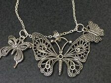 "Butterflies Mix A Charm Tibetan Silver with 18"" Necklace BIN"