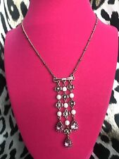Betsey Johnson Fabulous Fuchsia Pink Crystal Bow Jewel Pearl Drop Necklace RARE