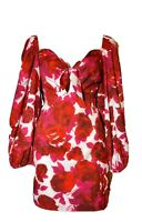 L'atiste By Amy Red White Foral Babydoll Bell Sleeve w Slip M NWT