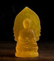 12CMChina Yellow Resin Buddhism Flammule Shakyamuni Amitabha Buddha Small Statue