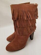 Joie Rockafella Urban Cowgirl Triple Fringe Brown Suede Heels Boots Size 37 New