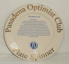 "Ultima China Plate International Optimist Club Pasadena Restaurant Ware 9"""