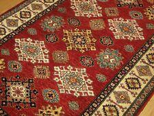 4 x 6 High Quality Handmade Vegetable Dye Fine Wool Afghan Caucasian Kazak Rug