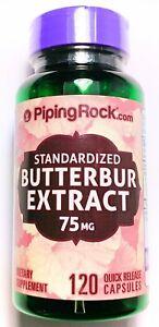 120 Capsule 75mg Butterbur Root Extract Standardized 15% Petasin Migraine Relief