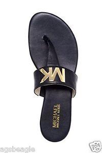 Michael Kors Sandals MK Hayley Thong Black Size 6 1/2 Agsbeagle #BigRush