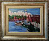 Harbor Marina, 11x14 Original Oil by Joseph Passal, Silver Leaf Frame