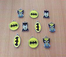 10 X Batman Avengers Metal Enamel Charms Pendants Random