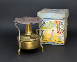 Small Camping Brass ALCOHOL Stove / Complete / Antique / box original/ very rare