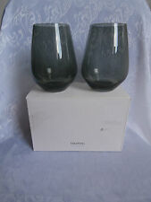 VERA WANG for WEDGWOOD SMOKE COLOUR CRYSTAL STEMLESS WHITE WINE GLASSES SET OF 2