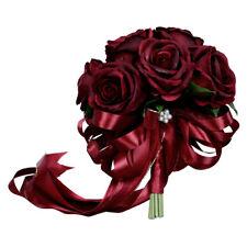 Luxury Rose Wedding Bridal Bouquet Silk Flower Arrangement Wine Red