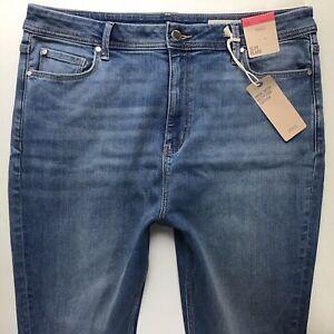 Bnwt Damen M & S SLIM FLARE FADED BLUE JEANS Größe 18 R w36 l31 (901j)