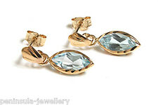 9ct Gold Blue Topaz Drop Earrings Made in UK Gift Boxed Xmas Christmas Gift