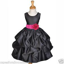 BLACK WEDDING BRIDESMAID INFANT TODDLER PAGEANT DANCING FLOWER GIRL DRESS CHOICE