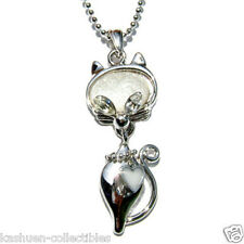 Clear w Swarovski Crystal ~White Cute Kitten~ KITTY CAT HEART pet charm Necklace
