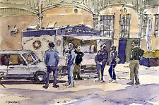 Donut Stand POSTCARD Steve Greaves Painting Art  Doughnut Watercolour Card
