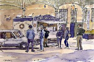 Donut Stand POSTCARD Steve Greaves Painting Art  Doughnut Watercolour Card
