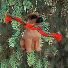 Boxer Miniature Dog Ornament - Uncropped Ears - Tawny