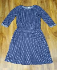 BODEN LADIES GORGEOUS LOOKING SPOTTED COTTON NAVY DRESS SIZE M. WW109
