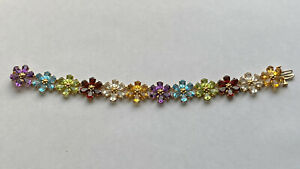 Heavy 17.5g 14K Yellow Gold Multi Genuine Gemstones Flower Bracelet - 7""