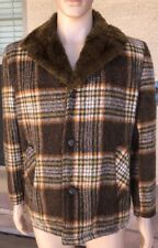 Vintage 60s 70s Towncraft Penneys Fur Lined Plaid Checks Blazer Jacket Small