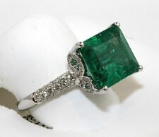 Green Emerald & Diamond Filigree Accents Solitaire Ring 14k White Gold 9.55Ct